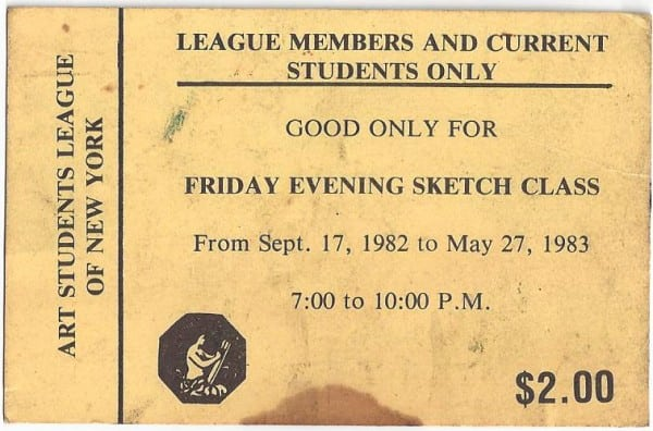 art students league sketch class ticket