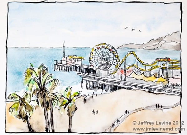 Venice beach sketchbook, los angeles, Jeffrey-M-Levine-MD; Jeff-Levine, Dr-Jeffrey-Levine, Jlevinemd, levineartstudio, manhattan, urbansketchers, urban sketchers, watercolor, sketchbook, aquarelle, watercolour