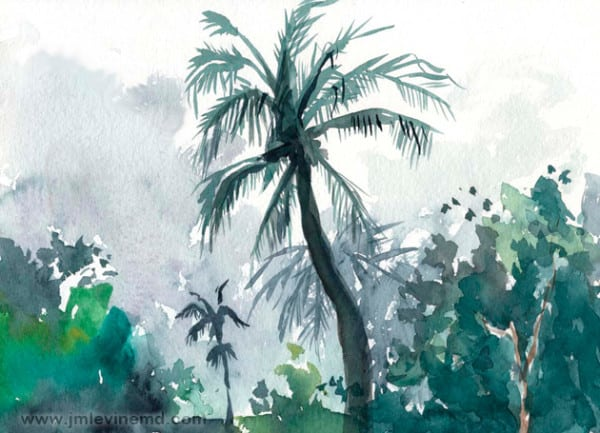 Jeffrey-M-Levine-MD; Jeff-Levine, Dr-Jeffrey-Levine, Jlevinemd, levineartstudio, manhattan, watercolor, palm trees, sand, beach, ft-lauterdale, fort lauterdale, sketchbook, urbansketchers, watercolour, aquarelle