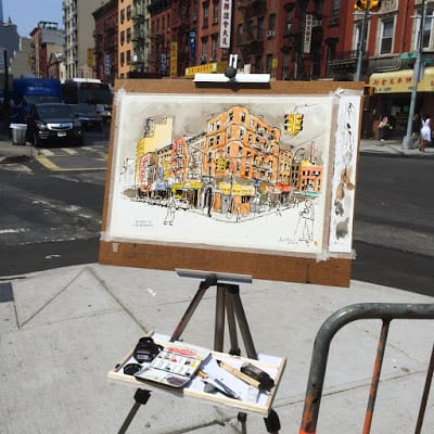 plein air, urban sketching, jeffrey m levine md, watercolor, new york city