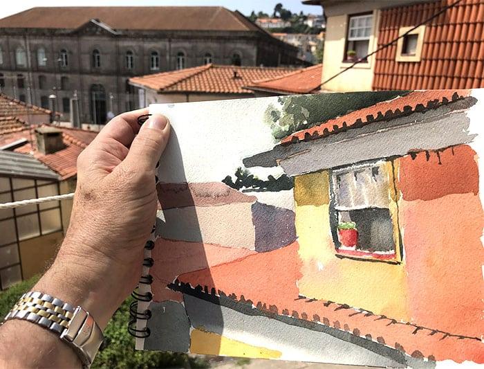 Jeffrey Levine urban sketching Porto
