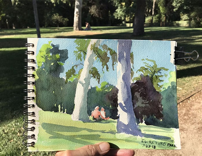 watercolor by Jeffrey Levine El Retiro Park Madrid