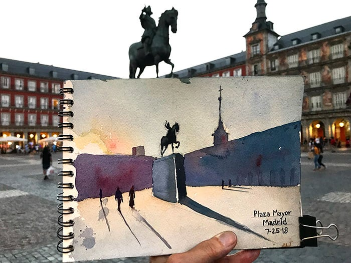 watercolor of Plaza Mayor by Jeffrey Levine