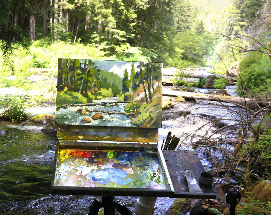 Plein air painting on the McKenzie River in Oregon