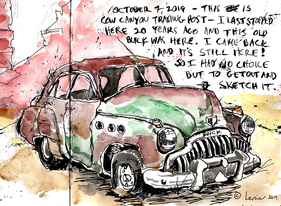 I sketched this iold Buick Super n the Fall of 2019 on a road trip through Southern Utah