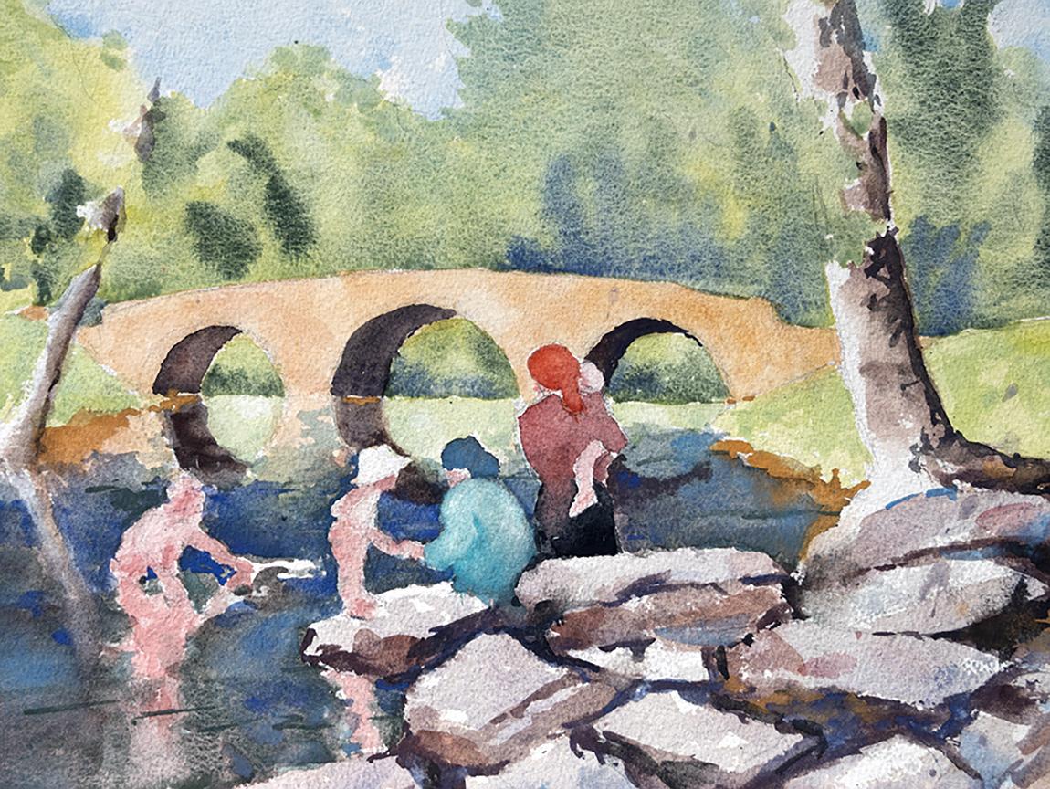 Old Stone Bridge Plein Air Watercolor