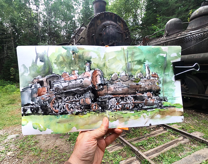 Sketching the abandoned steam locomotives of Maine