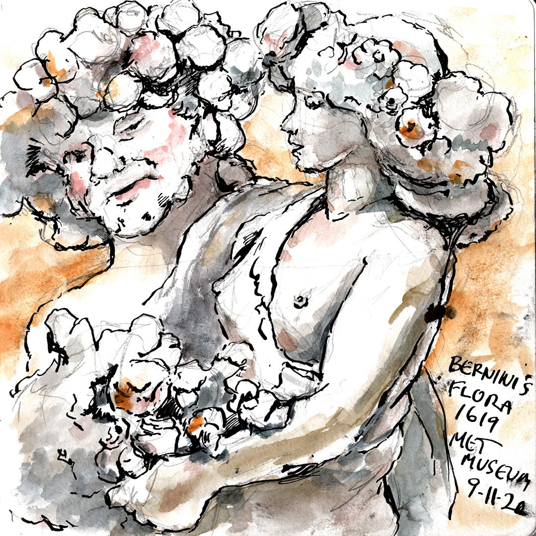 urbansketching flora and priapus at the metropolitan museum of art