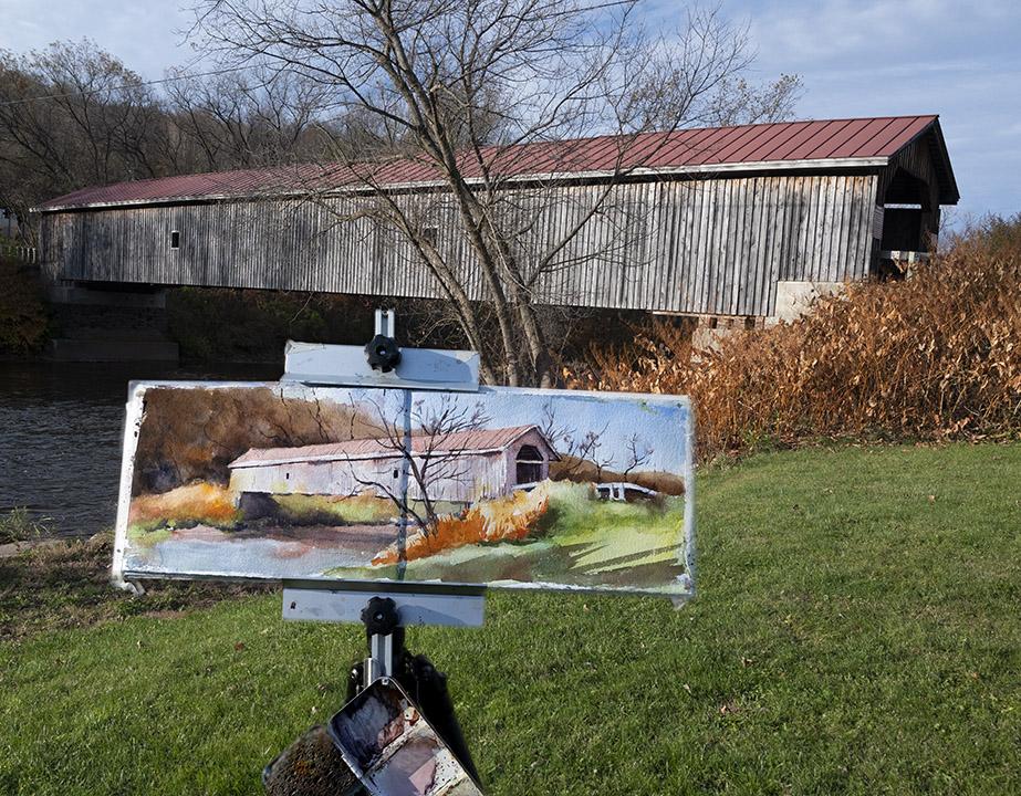 Hamden Covered Bridge Plein Air watercolor in the Catskills