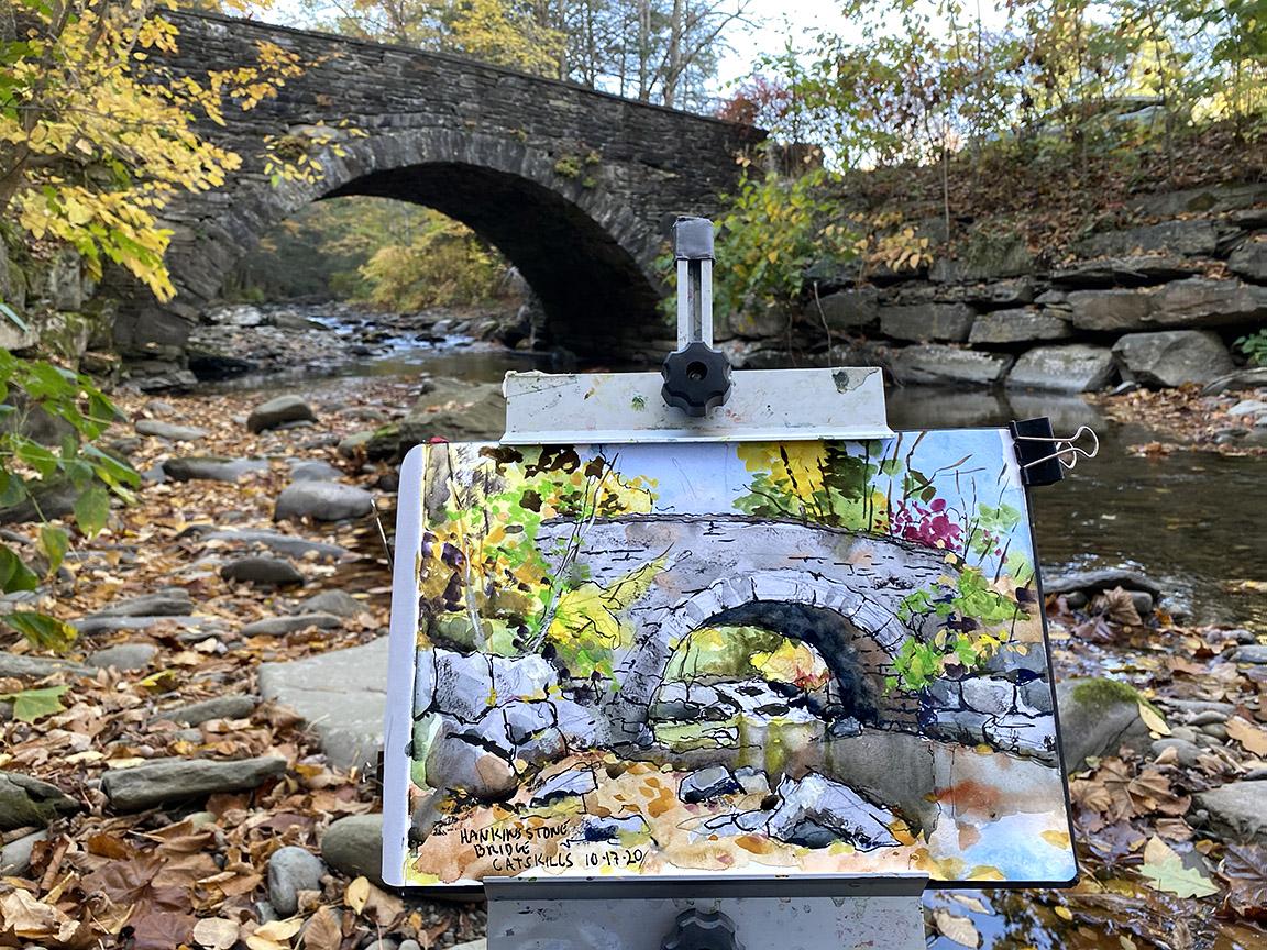 Hankins Stone Arch Bridge Plein Air Painting