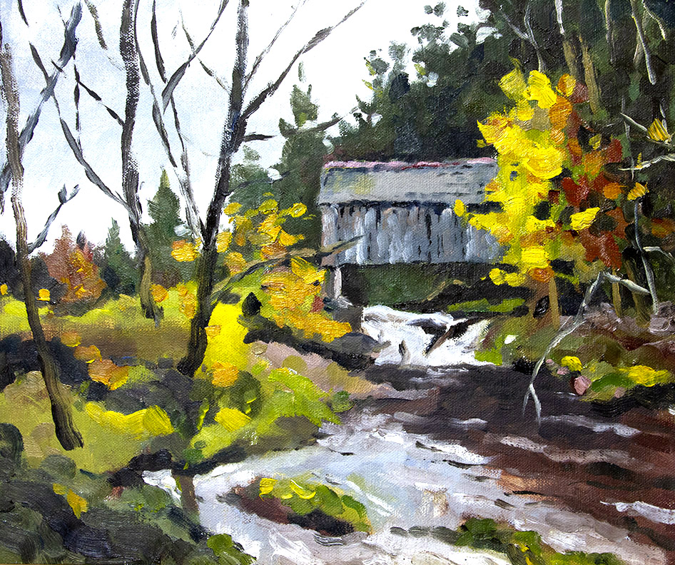 Tappan Covered Bridge Near the Town of Arkville in the Catskills Plein air oil painting
