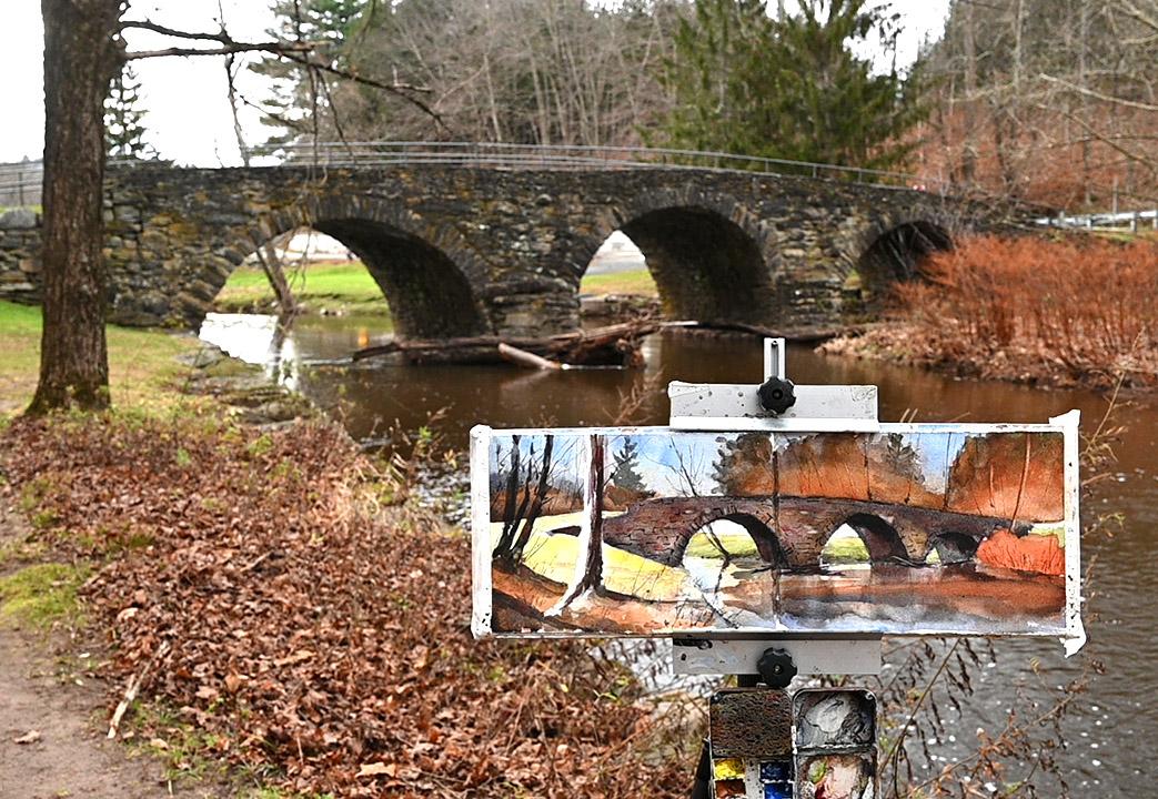 Stone Arch Bridge in Sullivan County Plein Air Watercolor