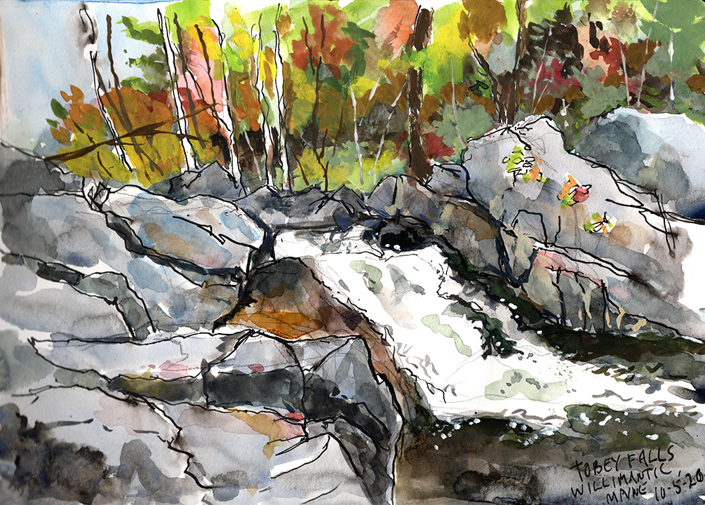Tobey Falls Plein Air Watercolor