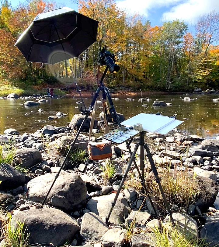 Video setup for plein air watercolor in Guilford, Maine