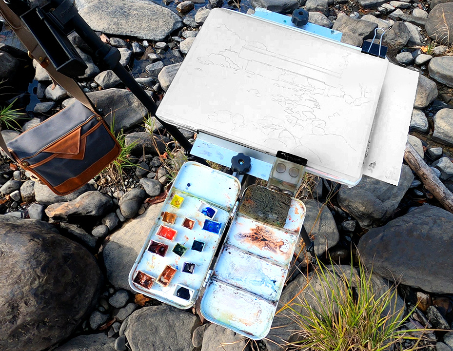 Jeff Levine's home-made plein air watercolor palette