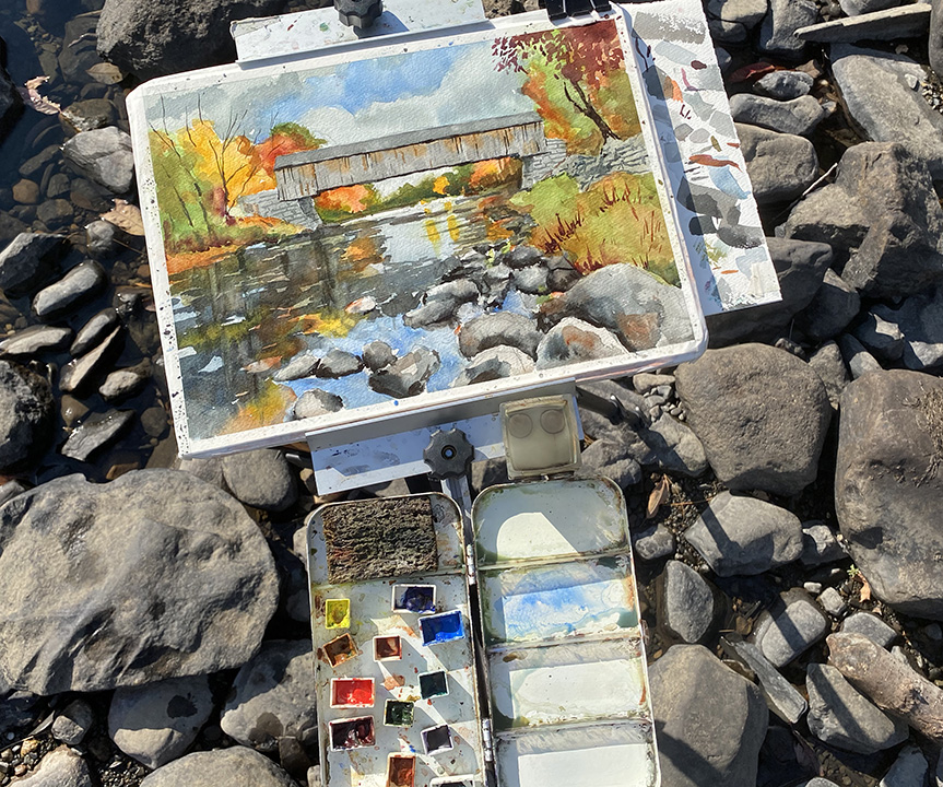 Plein air setup in Guilford, Maine