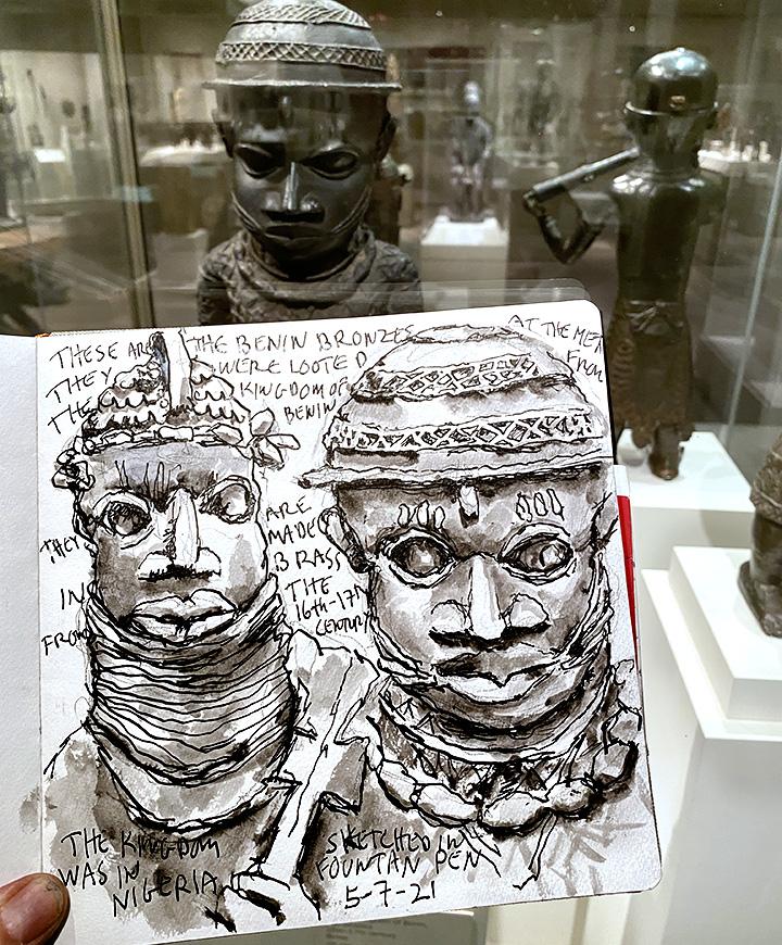 Sketching the Benin Bronzes at the Metropolitan Museum of Art