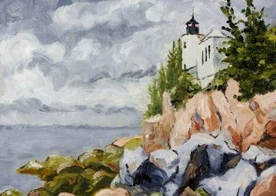 lighthouse, Maine, Southwest Harbor, rocks, lighthouse