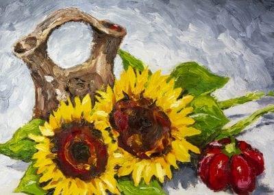 Navajo, weddng vase, sunflowers, pepper, still life, oils, oil painting