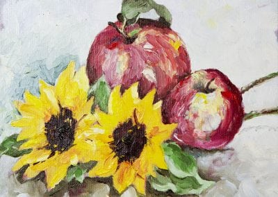 oil painting, Jeffrey M Levine MD, apples, sunflowers, oil painting