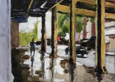 chicago, elevated tracks, plein air, oils, oil painting