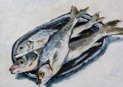 fish, still life, oils, oil painting, Jeffrey Levine
