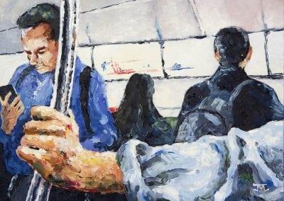 subway study, manhattan, new york city, MTA, oil painting, oils