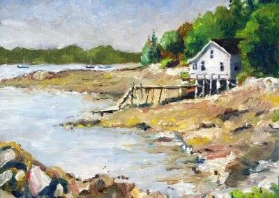 Plein air painting in Bass Harbor Maine