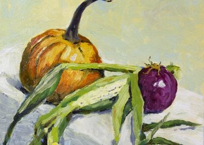 Still life oil painting with pumpkin and corn