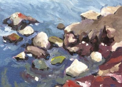 beach, rocks, oil painting, Jeffrey M Levine MD