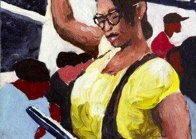 subway painting, casein, life uncerground, manhattan