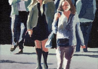 Hot summer afternoon downtown manhattan in oil paint