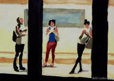 oil painting, subway, nyc subway