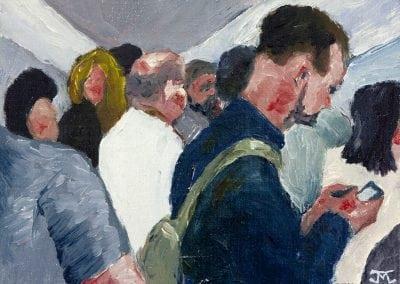 subway study, oil painting, manhattan, life underground