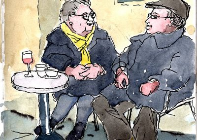 old couple, urbansketching, pleinair, italy, liguria, watercolor, italian riviera, Riviera di Ponente