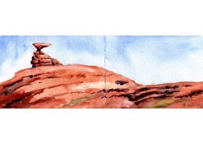 Mexican Hat, utah, red rock country, watercolor, sketchbook