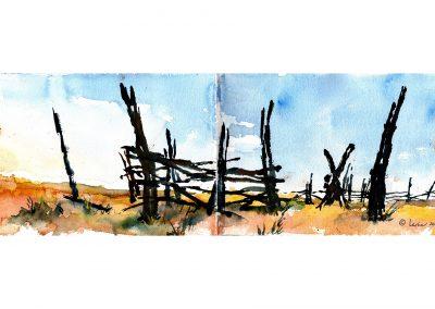 Utah, corral, old west, watercolor, plein air