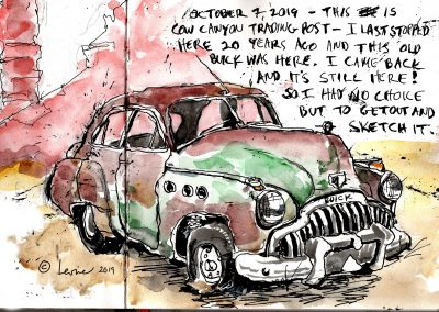 Bluff Utah, Red Rock Country, 1949 Buick Super, sketchbook, pen and ink