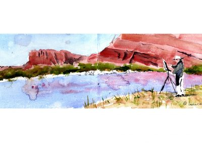 plein air painting, en plein air, colorado river, moab utah