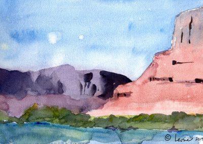 moab utah, colorado river, watercolor