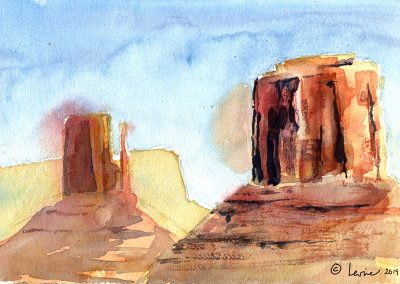 red rock country, watercolor, navajo nation