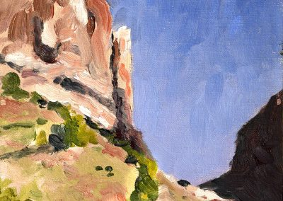Plein air oil painting, mesas of canyonlands, moab utah, red rock country