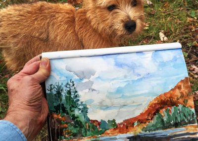 Plein air with my dog Winslow in the catskill mountains