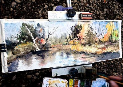 Plein air watercolor at Callicoon Creek in the Catskills