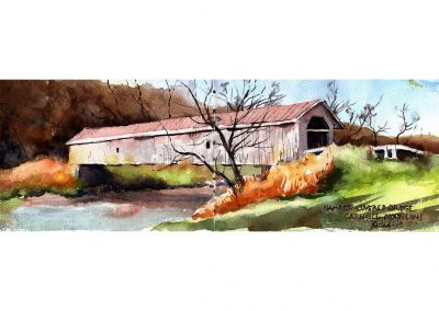 Hamden covered bridge catskills plein air watercolor