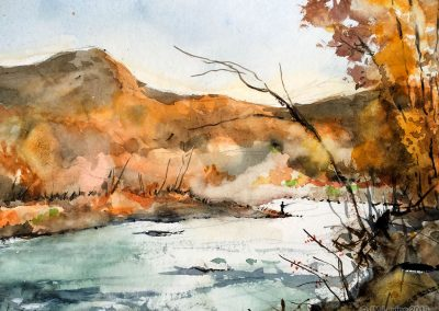 Plein air watercolor fly fishing in the Catskill mountains