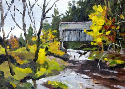 Plein air oil painting at covered bridge in the catskills