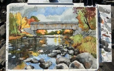 Video and Plein Air Setup for Painting Lowes Covered Bridge