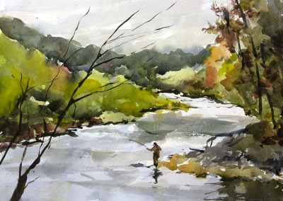 Plein air watercolor in the catskills of the Esopus River